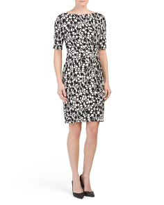 Printed Shirred Sheath Dress