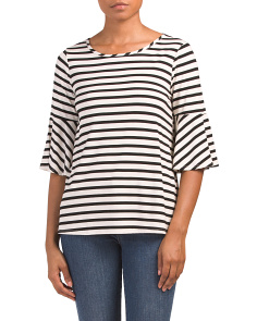 Made In USA Tuck Front Striped Top