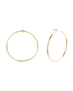 Made In USA 14k Gold Plated Thin Large Circle Hoop Earrings