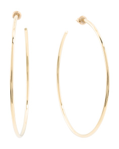 Made In USA 14k Gold Plated Thin Round Wire Hoop Earrings