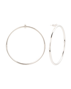 Made In USA Rhodium Plated Thin Large Circle Hoop Earrings