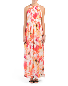 Floral Printed Pleated Maxi Dress