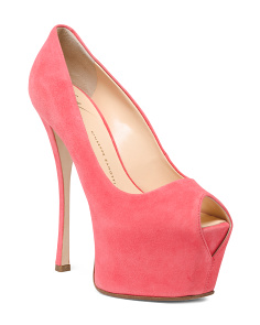 Made In Italy Peep Toe Platform Suede Pumps