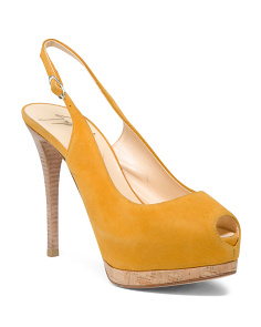 Made In Italy Suede Sling Back Pumps