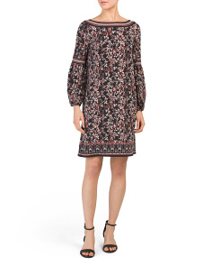 Swirling Vineyard Print Jersey Dress