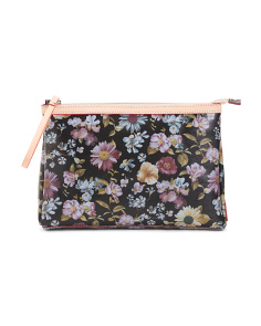 Made In Italy Floral Leather Clutch