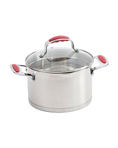 4qt Stainless Steel Strainer Lidded Pot