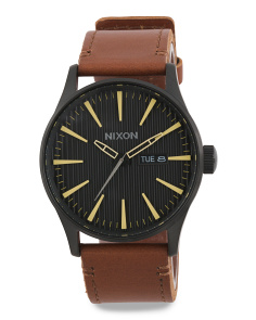 Men's Stentry Leather Strap Watch