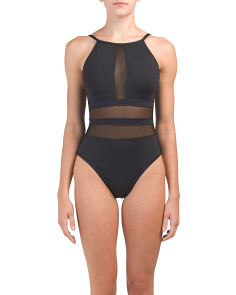 High Neck Mesh One-piece Swimsuit