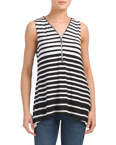 V Neck Front Zip Sharkbite Hem Tank