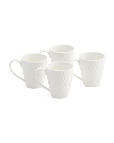 4pk Porcelain Diamond Mugs
