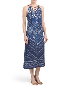 Printed Halter Midi Dress