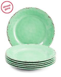 6pk Outdoor Crackle Melamine Dinner Plates