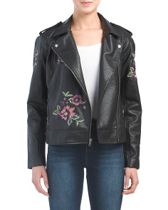 Juniors Baxley Embrodiered Faux Leather Jacket