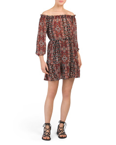 Juniors Sienna Off The Shoulder Printed Dress