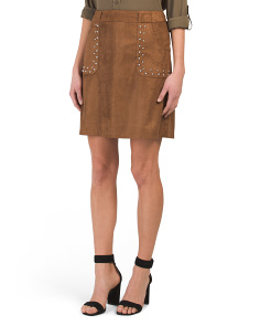 Juniors Cain Studded Faux Suede Skirt