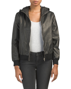 Juniors Lucca Hooded Faux Leather Jacket
