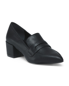 Block Heel Leather Loafers