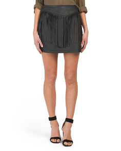 Juniors Cooley Fringe Faux Leather Skirt