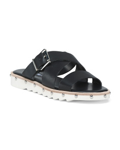 Leather Studded Slide Sandals