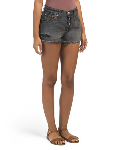 Juniors 501 Shredded Onyx Shorts