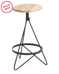 Made In India Mango Wood Aztec Swivel Stool