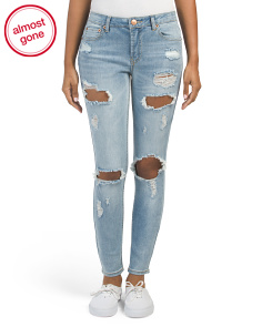 Juniors Destructed Ankle Jeans