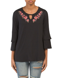 Double Ruffle Sleeve Embroidered Top