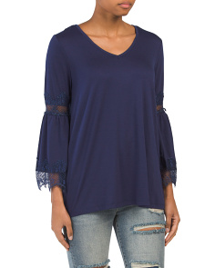 V-neck Top With Lace Trim