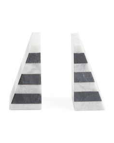 Set Of 2 Striped Marble Bookends