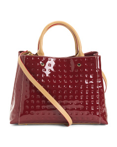 Made In Italy Marsala Patent Leather Satchel