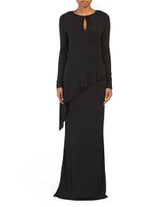 Long Sleeve Gown With Keyhole Neck