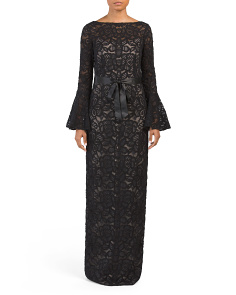 Bell Sleeve Lace Gown