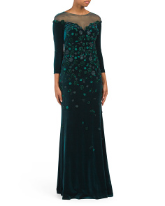 Long Illusion Top Velvet Gown