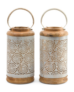 Made In India Set Of 2 Metal And Wood Lanterns