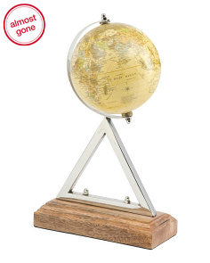 Stainless Steel And Wood Globe