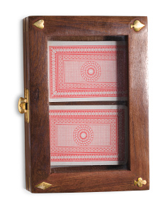 Made In India Wood And Brass Card Box