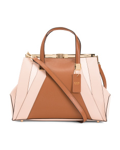 Made In Italy Leather Colorblock Satchel