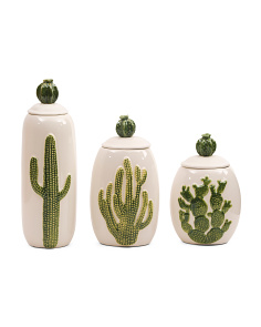 Set Of 3 Ceramic Cactus Jars