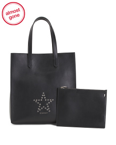 Made In Italy Leather Studded Tote