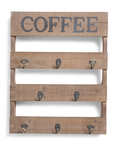 Coffee Wood & Metal Wall Hook Decor