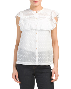 Moon Dot Embroidered Top