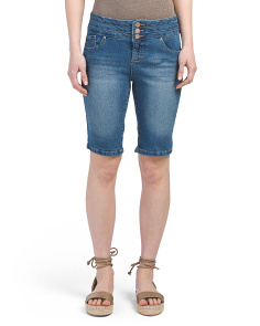 Stacked Waist Bermuda Denim Shorts