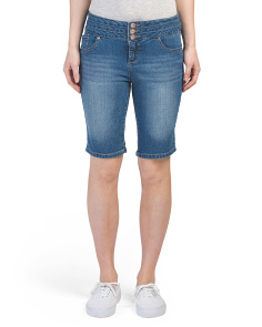 Stacked Waist Denim Bermuda Shorts
