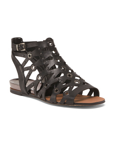Wide Flat Cut Out Leather Sandals