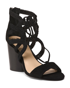 Wide Laced Kid Suede Sandals