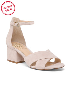 Suede Wide X-band Block Heel Sandals