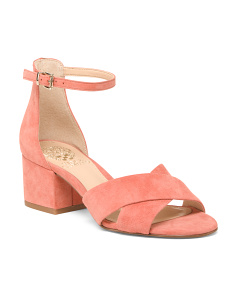 Wide Cross Band Suede Sandals