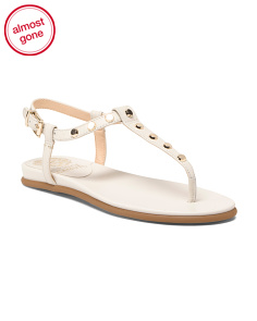 Wide Thong Flat Leather Sandals