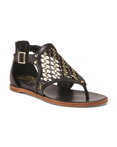 Wide Flat Leather Sandals